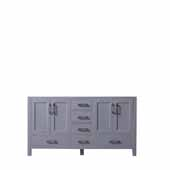 Jacques 60'' Dark Grey Vanity Base Cabinet Only, 59''W x 21-1/2''D x 33-1/4''H