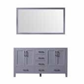 Jacques 60'' Dark Grey Double Vanity Base Only With 58'' Mirror, 59''W x 21-1/2''D x 33-1/4''H