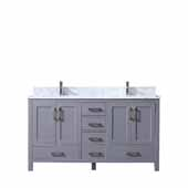 Jacques 60'' Dark Grey Double Vanity, White Carrara Marble Top, White Square Sinks, 60''W x 22''D x 34''H