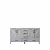Jacques 60'' Distressed Grey Vanity Base Cabinet Only, 59''W x 21-1/2''D x 33-1/4''H