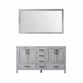 Jacques 60'' Distressed Grey Double Vanity Base Only With 58'' Mirror, 59''W x 21-1/2''D x 33-1/4''H
