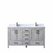 Jacques 60'' Distressed Grey Double Vanity, White Carrara Marble Top, White Square Sinks, 60''W x 22''D x 34''H