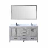 Jacques 60'' Distressed Grey Double Vanity, White Carrara Marble Top, White Square Sinks and 58'' Mirror, 60''W x 22''D x 34''H