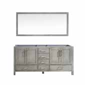 Jacques 72'' Distressed Grey Double Vanity Base Only With 70'' Mirror, 71''W x 21-1/2''D x 33-1/4''H