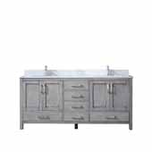 Jacques 72'' Distressed Grey Double Vanity, White Carrara Marble Top, White Square Sinks, 72''W x 22''D x 34''H
