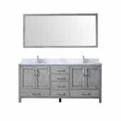 Jacques 72'' Distressed Grey Double Vanity, White Carrara Marble Top, White Square Sinks and 70'' Mirror, 72''W x 22''D x 34''H