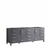 Jacques 84'' Dark Grey Vanity Base Cabinet Only, 83''W x 21-1/2''D x 33-1/4''H