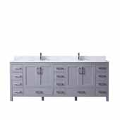 Jacques 84'' Dark Grey Double Vanity, White Carrara Marble Top, White Square Sinks, 84''W x 22''D x 34''H
