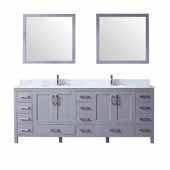Jacques 84'' Dark Grey Double Vanity, White Carrara Marble Top, White Square Sinks and 34'' Mirrors, 84''W x 22''D x 34''H