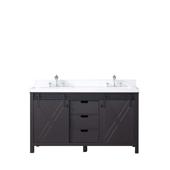 Marsyas, 60'' W Brown Double Sink Bathroom Vanity with White Quartz Top, and White Ceramic Rectangular Sinks, 60'' W x 22'' D x 34'' H