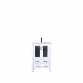 Volez 24'' White Single Vanity, Integrated Ceramic Top and White Integrated Square Sink, 24''W x 18-1/4''D x 34''H