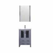 Volez 24'' Dark Grey Single Vanity, Integrated Ceramic Top, White Integrated Square Sink and 22'' Mirror, 24''W x 18-1/4''D x 34''H