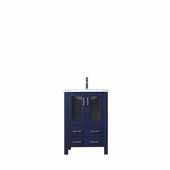 Volez 24'' Navy Blue Single Vanity, Integrated Ceramic Top and White Integrated Square Sink, 24''W x 18-1/4''D x 34''H