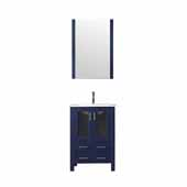 Volez 24'' Navy Blue Single Vanity, Integrated Ceramic Top, White Integrated Square Sink and 22'' Mirror, 24''W x 18-1/4''D x 34''H
