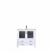 Volez 36'' White Single Vanity, Integrated Ceramic Top and White Integrated Square Sink, 36''W x 18-1/4''D x 34''H
