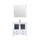 Volez 36'' White Single Vanity, Integrated Ceramic Top, White Integrated Square Sink and 34'' Mirror, 36''W x 18-1/4''D x 34''H