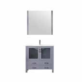 Volez 36'' Dark Grey Single Vanity, Integrated Ceramic Top, White Integrated Square Sink and 34'' Mirror, 36''W x 18-1/4''D x 34''H