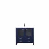 Volez 36'' Navy Blue Single Vanity, Integrated Ceramic Top and White Integrated Square Sink, 36''W x 18-1/4''D x 34''H