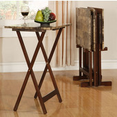 Tray Table Set, Faux Marble Top & Brown Frame, 18-7/8''W x 15-3/4''D x 26-3/8''H