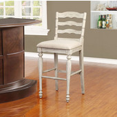 Marino Bar Stool in White Wash Finish and Linen Fabric, 19-1/2'' W x 22-3/4'' D x 45'' H