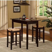 Tavern Three Piece Counter Set, Espresso, 42''W x 22-1/4''D x 36''H