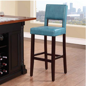30'' Vega Bar Stool, Agean Blue Seat, 19''W x 20''D x 44-1/2''H, Espresso Finish