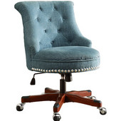 Sinclair Office Chair Aqua - Wood Base , Dark Walnut, 23''W x 26-3/4''D x (35 -- 39)''H