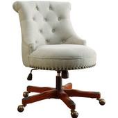 Sinclair Office Chair Natural - Wood Base , Dark Walnut, 23''W x 26-3/4''D x (35 -- 39)''H