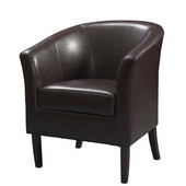 Simon Club Chair in Black Hardwood Frame Finish and Blackberry PU Fabric, 28-1/4'' W x 25-1/2'' D x 33'' H