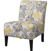 Lily Bridey Chair with Grey/Yellow Floral Upholstery with Black legs, 22-1/2''W x 30''D x 33''H