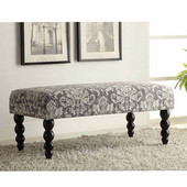 Claire Bench - Gray Damask, 40-3/8''W x 20-1/10''D x 17-1/8''H