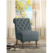 Cora Washed Blue Linen Roll Back Tufted Chair, Antique Brown, 23-1/2''W x 37''D x 35-1/2''H