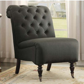 Cora Roll Back Tufted Chair, Charcoal, 23-1/2''W x 37''D x 35-1/2''H