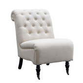 Cora Roll Back Tufted Chair, Natural, 23-1/2''W x 37''D x 35-1/2''H
