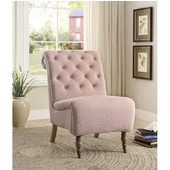Cora Washed Pink Linen Roll Back Tufted Chair, Antique Brown, 23-1/2''W x 37''D x 35-1/2''H