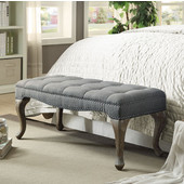 Loire Cabriolet Bench in Gray Wash Finish and Washed Gray Linen Fabric, 43-3/4'' W x 17-3/4'' D x 17-45/64'' H