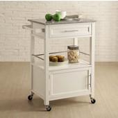 Mitchell Kitchen Cart with Granite Top, White, 27''W x 18''D x 36''H