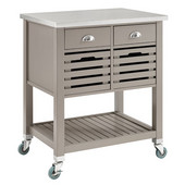 Robbin Wood Kitchen Cart in Gray with Stainless Steel Top, 30'' W x 22-1/16'' D x 36-1/64'' H