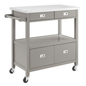 Sydney Kitchen Cart in Gray with Stainless Steel Top, 37-1/2'' W x 18'' D x 36'' H