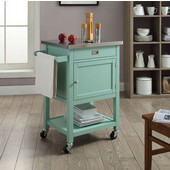 Sydney Apartment Cart in Light Green with Stainless Steel Top, 25-1/2'' W x 18'' D x 36'' H