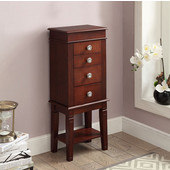 Madison Jewelry Armoire in Dark Walnut with Flip Top, 13-2/5'' W x 9'' D x 35'' H