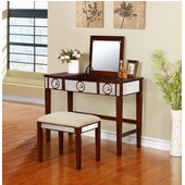 Madison Vanity Set in Walnut Finish and Beige Fabric, 40'' W x 18'' D x 30'' H