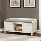 Lakeville White Storage Bench in Antique White Finish and Polyester/Linen Fabric Seating, 45'' W x 17'' D x 21'' H