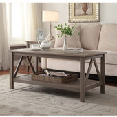 Titian Rustic Gray Coffee Table, Rustic Gray, 44''W x 22''D x 20''H