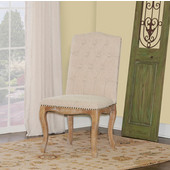 Portsmouth Square Back Chair, Set of 2 in Light Natural Brown Finish and Natural Linen Fabric, 22'' W x 26-1/4'' D x 41'' H