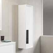 D�cor Cristal 14'' Width Bathroom Linen Side Cabinet in White and Grey