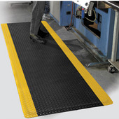 Diamond Foot Floor Mat with Colored Borders, 2' x 75' x 9/16'', Black/Yellow