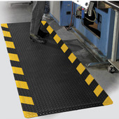 Diamond Foot Floor Mat with Colored Borders, 3' x 10' x 9/16'', Chevron Black/Yellow