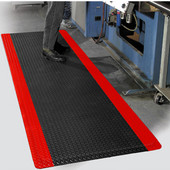 Diamond Foot Floor Mat with Colored Borders, 4' x 75' x 9/16'', Black/Red