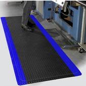 Diamond Foot Floor Mat with Colored Borders, 2' x 75' x 9/16'', Black/Blue